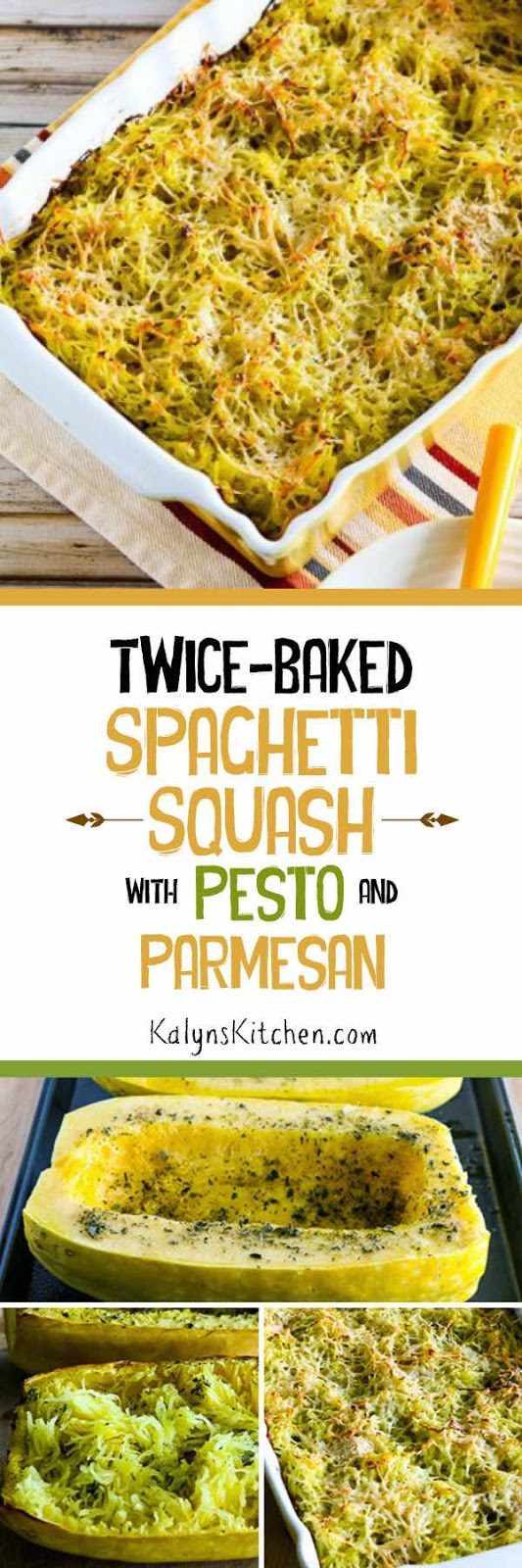 Twice-Baked Spaghetti Squash Recipe with Pesto and Parmesan found on ...
