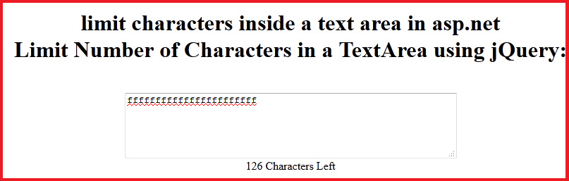 Limit Number of Characters in a TextArea using jQuery
