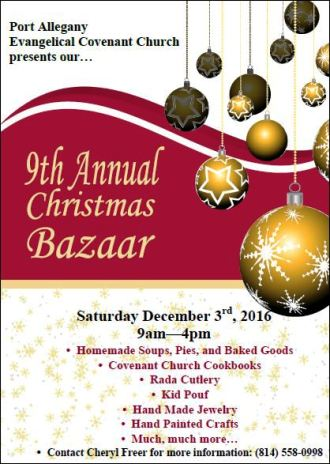 12-3 Christmas Bazaar, Port Allegany