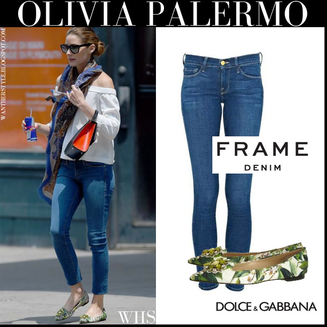 Olivia Palermo in green floral leaf print flat Dolce Gabbana shoes, skinny frame denim jeans and white bare shoulder top what she wore july 1