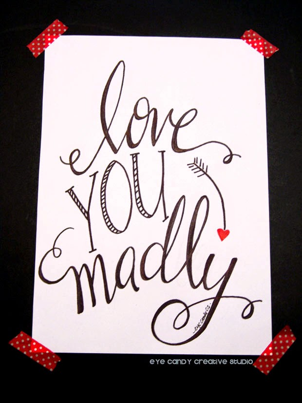 valentines day print, arrow, hand lettering, pen and ink, modern calligraphy
