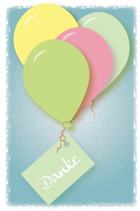 free printable download - Postkarte Luftballons mit Danke Karte