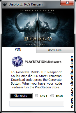 Diablo III Reaper of Souls Keygen PS3/PS4