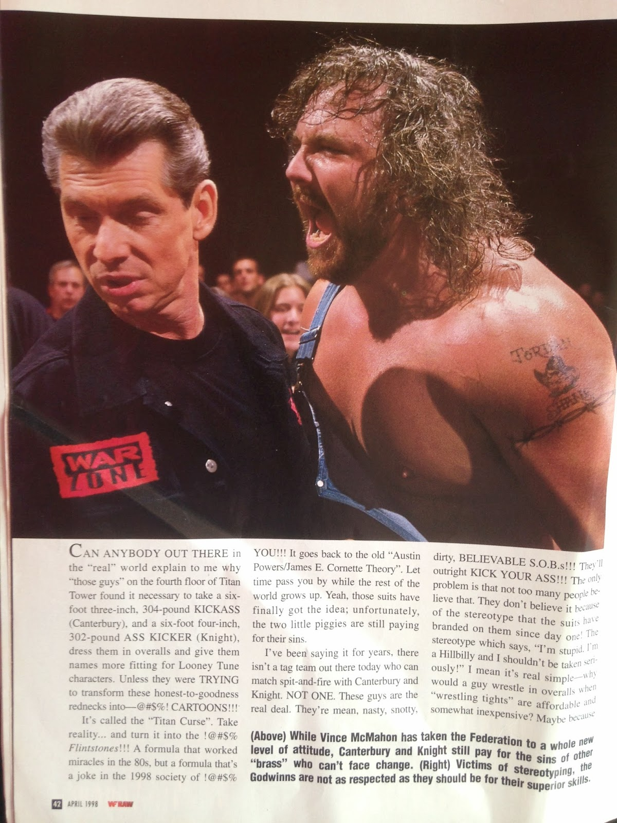WWE - WWF Raw Magazine - April 1998 - Henry Godwin blasts Vince McMahon