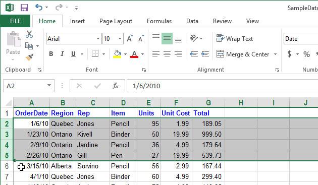 Cách tạm thời ẩn hàng, cột trong Excel 2013 6