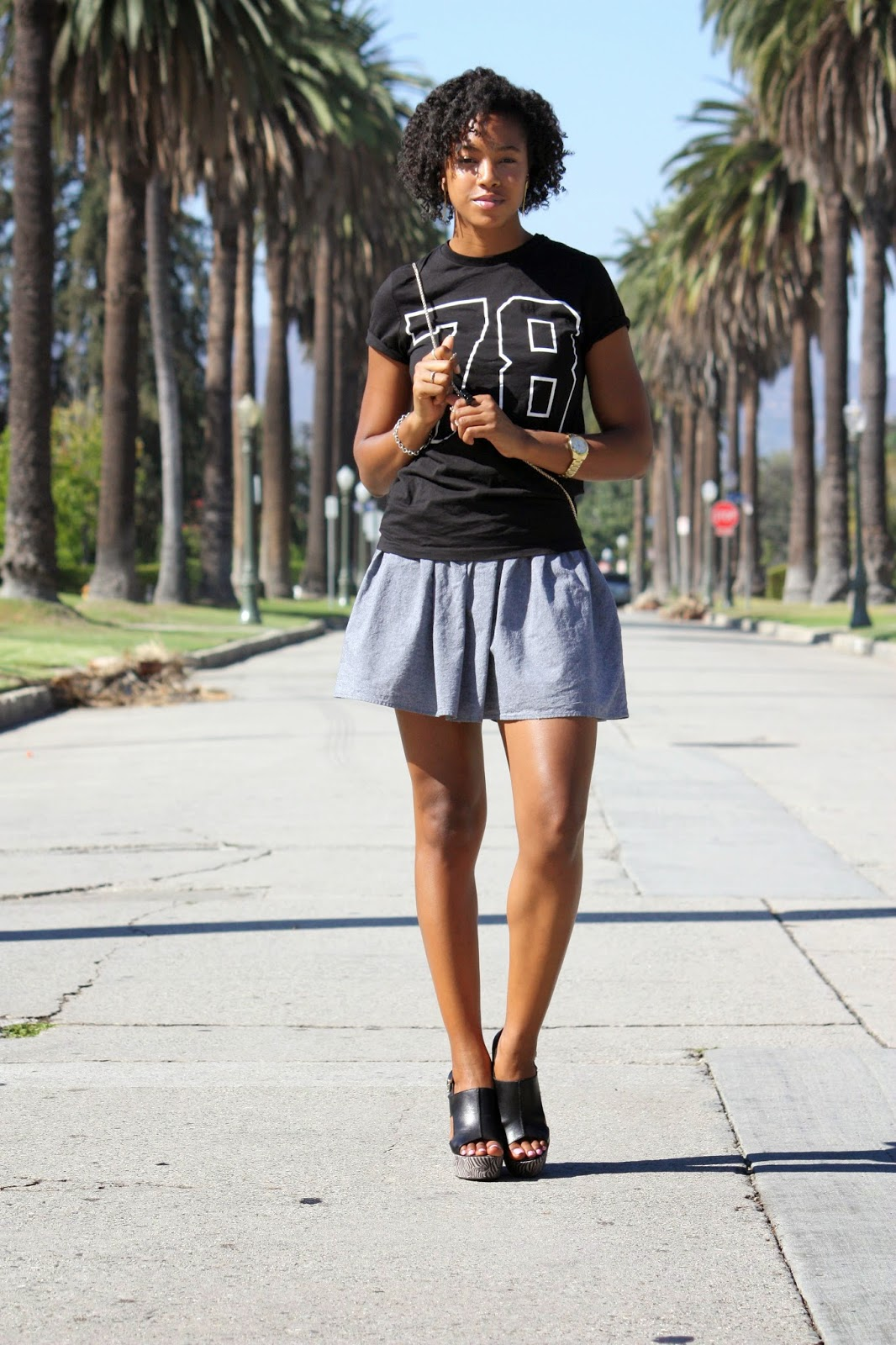 Graphic t shirt styled with full hem skirt
