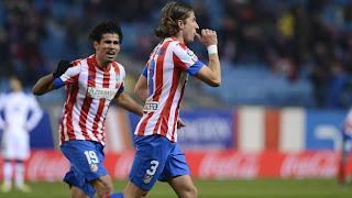 Filipe Luis celebra el segundo gol del Atleti