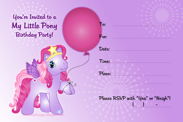 free my little pony invitation featuring star song free my little pony