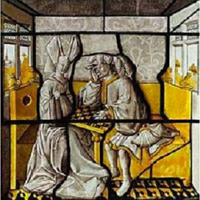 Vidriera antigua con dos jugadores de ajedrez