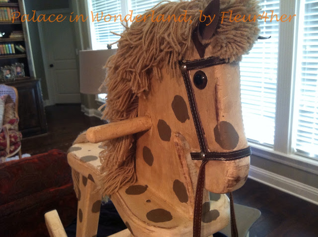 Vintage rocking horse, Annie Sloan Chalk Paint, dark wax, fleur4her, Palace in Wonderland