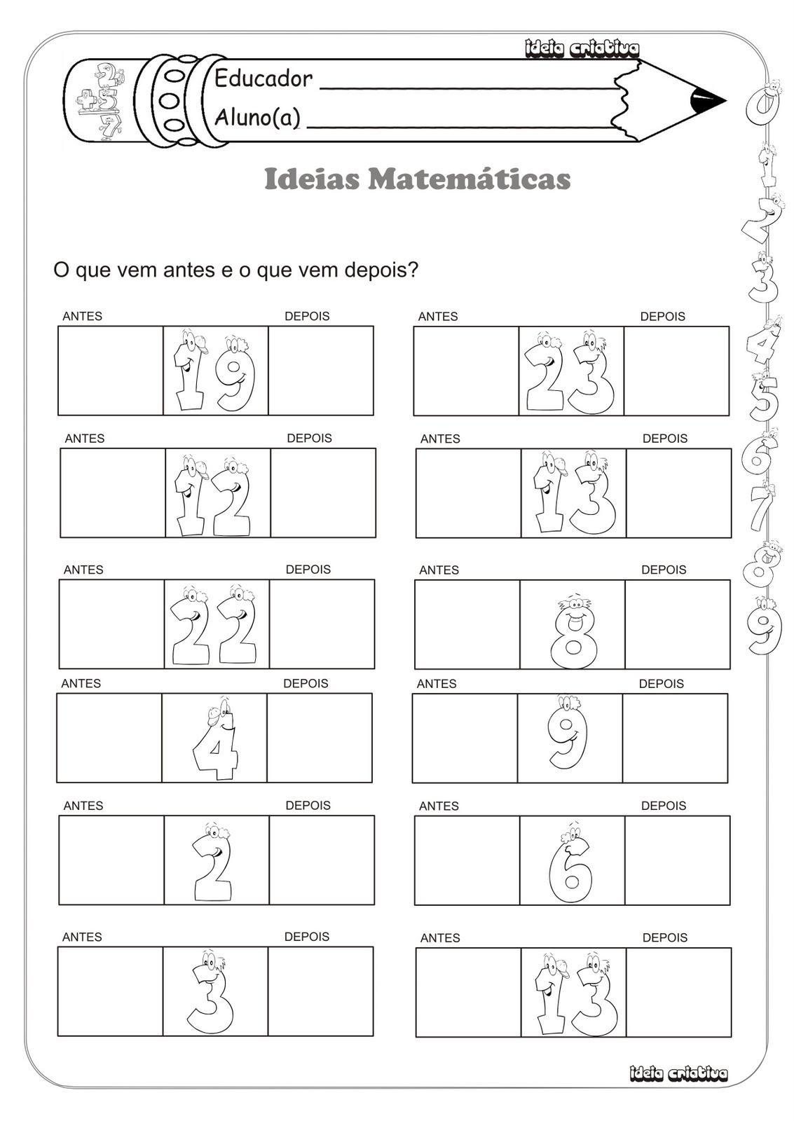 Atividade Matemática 1º Ano Sucessor e Antecessor