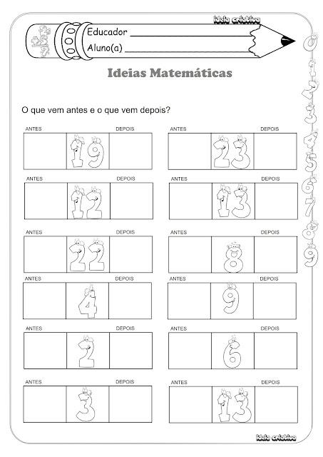 Atividade Sucessor e Antecessor  Matemática 1º ano