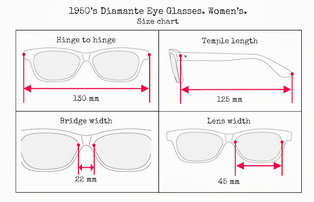 Eyeglass Frames Size Chart : vintage and loved