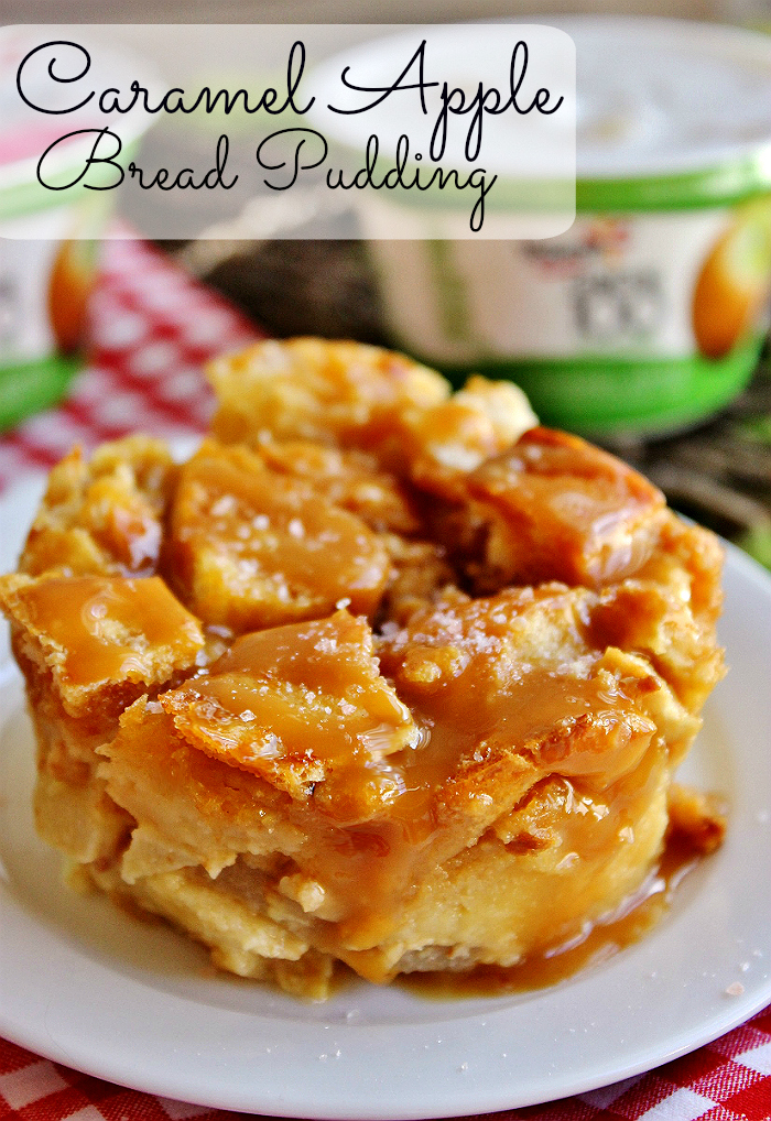 Bring home the season's flavors with our Salted Caramel Apple Bread Pudding recipe and Yoplait Greek 100 Caramel Apple yogurt from Walmart- The perfect comfort food pairing! #SnackAndSmile #ad