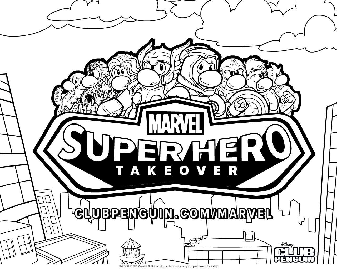 Club Penguin Marvel Super Hero Takeover Coloring Page