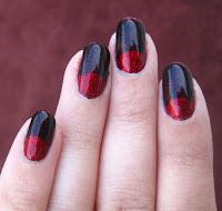 Louboutin-inspired halfmoon manicure