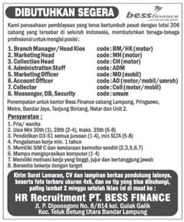 Lowongan Kerja PT. BESS FINANCE Lampung