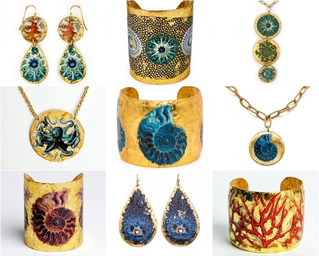 EVOCATEUR is a jewelry line made from the high quality 22K gold leaf as well as sterling silver leaf. Founder and designer Barbara Ross-Innamorati. Unique jewelry. Most beautiful jewelry.Evocateur Oceana line.