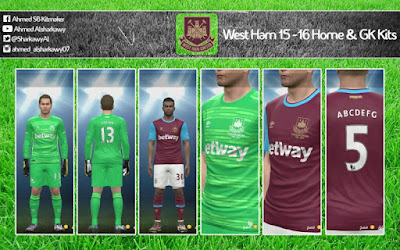 PES 2015 West Ham 15-16 Home & GK Kits By A 7 M E D SB