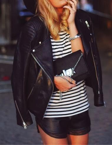 Biker jackets, lined blouse, handbag and shorts for fall