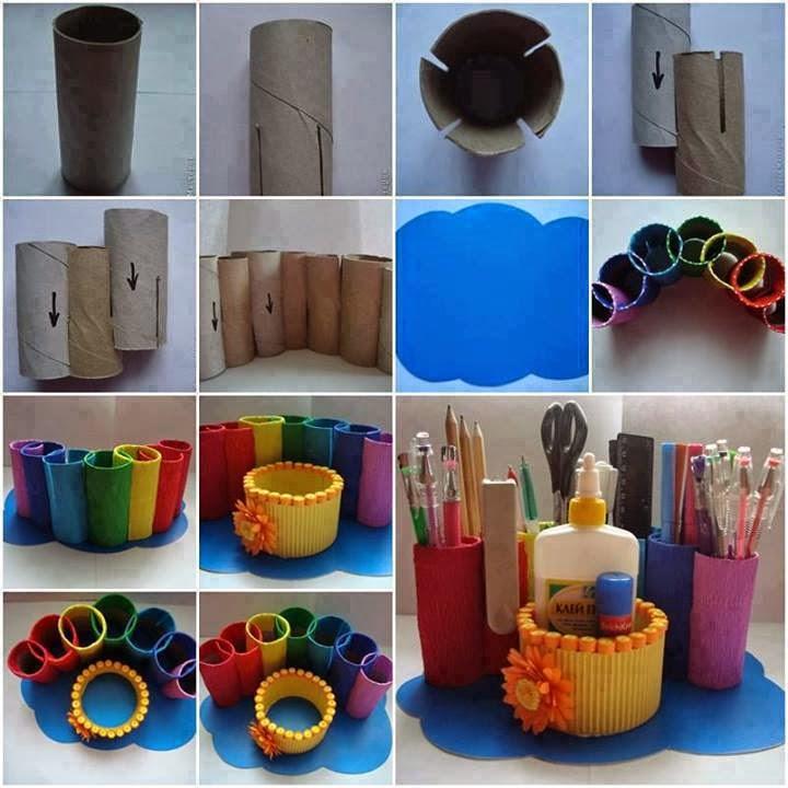Portalápices reciclados de cartón