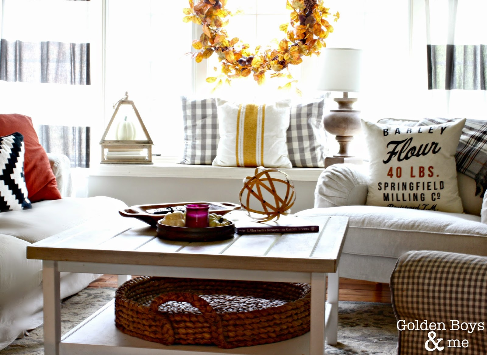 Ikea Stocksund, Hemnes and Jennylund in fall living room with striped drapes-www.goldenboysandme.com