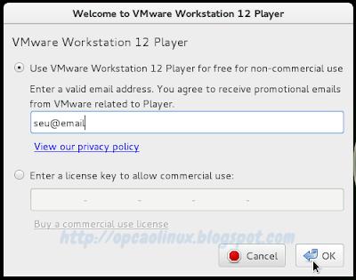 Inserir um e-mail para poder utilizar o VMware Player
