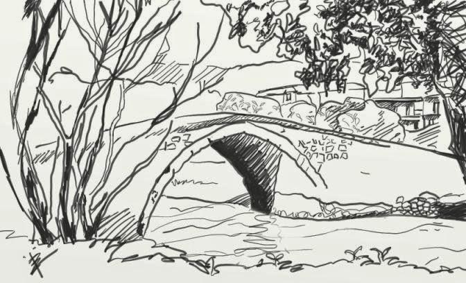 Σκίτσο από την Βυζαντινή γέφυρα στο Κιουπρί