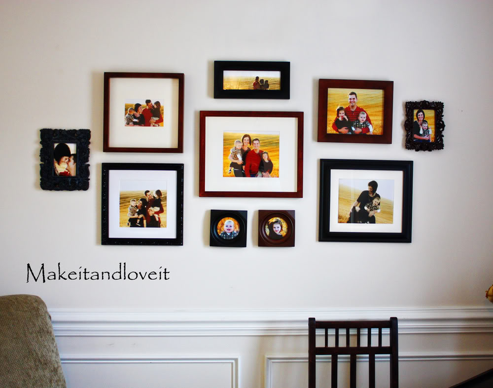 Design picture frames on walls