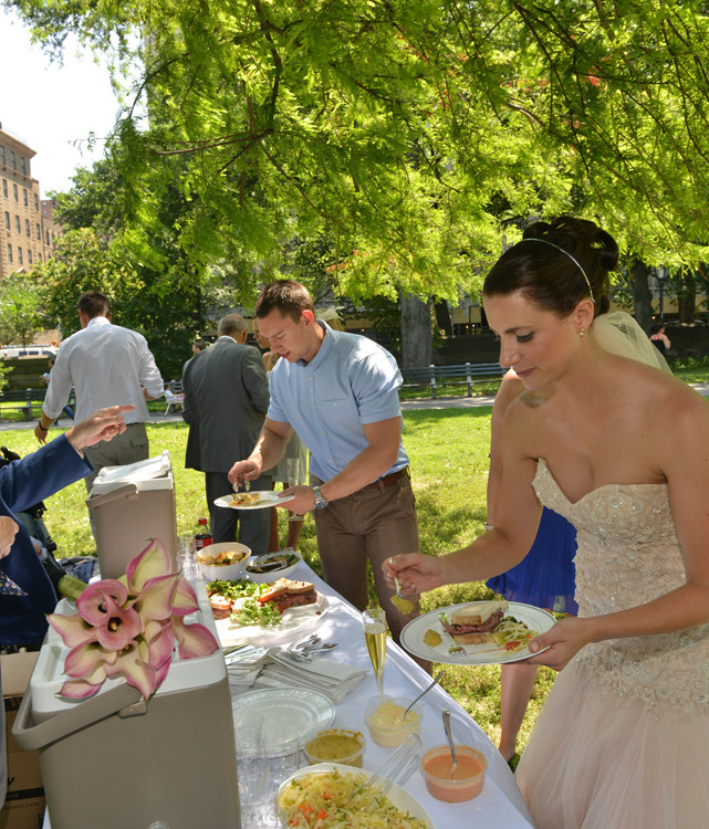 Wedding Buffet open at Harlem Meer picnic Reception