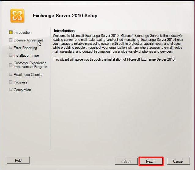 Ventana de Introducción a la instalación de Microsoft Exchange 2010.
