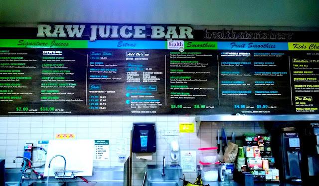 Raw juice bar menu