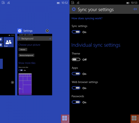 sync settings feature in windows 10 phone