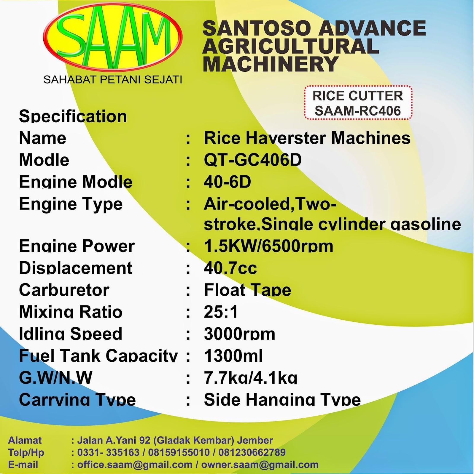 Pemotog Batang Padi Rice Cutter Saam Rc 406 Santoso Advance Paket Tudung 1 Pisau Dan Gearcase Klik Untuk Memperbesar