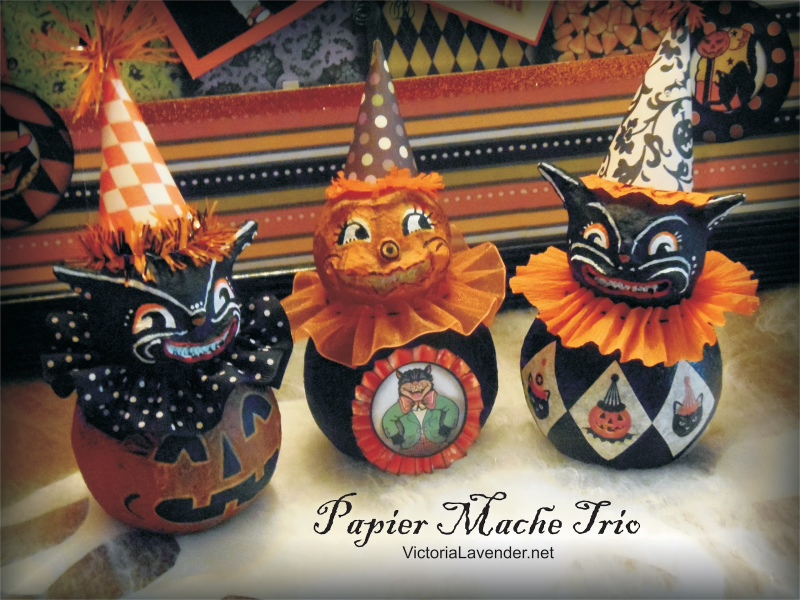 Victoria lavender halloween paper mache trio for Papier mache decorations