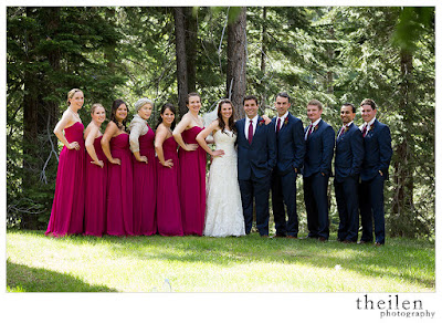 Bridesmaids in elegant long fuchsia dresses l Theilen Photo l @takethecakevent