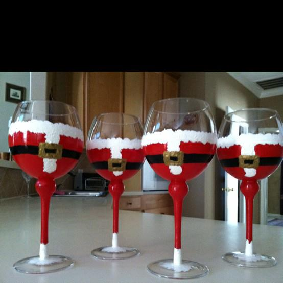 Painted glass on pinterest painted wine glasses wine for Santa glasses for crafts