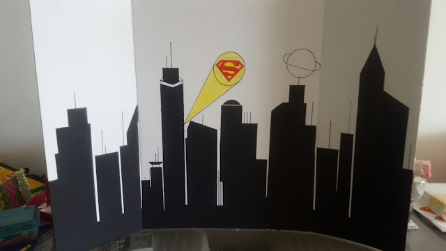 diy superhero cityscape, diy backdrop