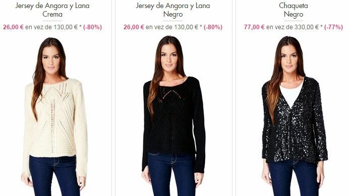 Ejemplos de jerséis y chaquetas a la venta en el interior.