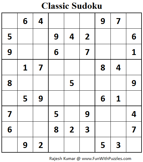 Classic Sudoku (Fun With Sudoku #66)
