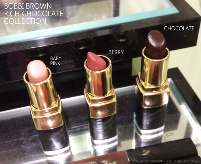 Bobbi Brown Rich Chocolate Makeup Collection Indian Darker Skin Beauty Blog Photos Lipsticks Chocolate Berry Baby Pink