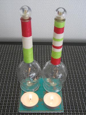 Botellas decoradas con hilo