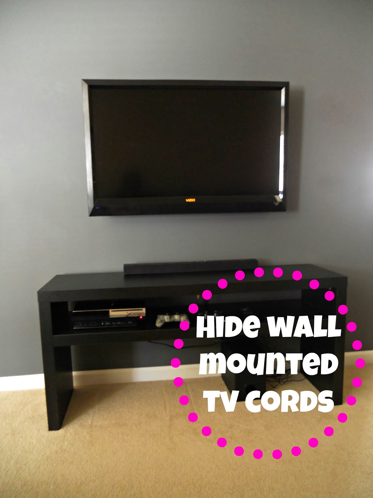 wall mounted tv and hiding the cords. Black Bedroom Furniture Sets. Home Design Ideas