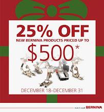 25% OFF All Bernina Accessories $500 & Under thru December 31st