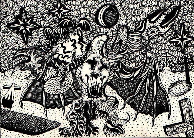 Монстр на кладбище под звездным небом и молодой луной. Графический рисунок тушью