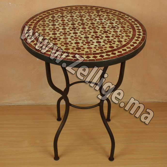 Table en Zellige ronde marron et beige | Zellige Marocain, Carreaux ...