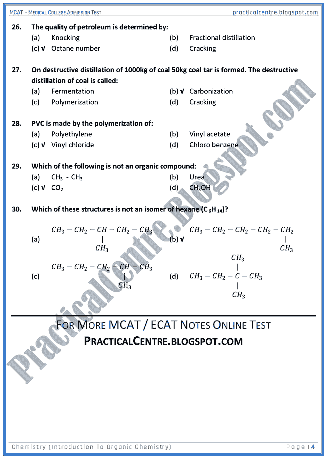 mcat-chemistry-introduction-to-organic-chemistry-mcqs-for-medical-college-admission-test