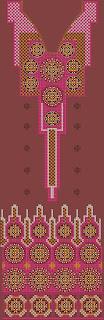 geometriese styl maroen Churidar pak