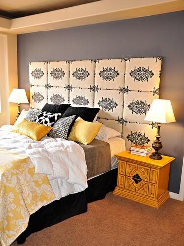 Decoracion En Gris Y Amarillo ~ Dormitorio donde el color amarillo es el protagonista jugando con la