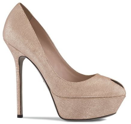 Nude metallic embossed leather Cachet peep toe platform pump